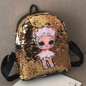 NEW Sequins Kids Girls LOL Mini Backpack